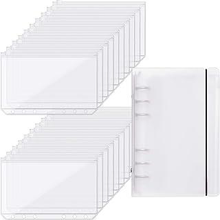 Outus 20 Pieces Binder Pocket Envelopes 6 Holes Clear PVC Zipper Binder Pockets Loose Leaf Bag Zip Envelopes with Binder C...