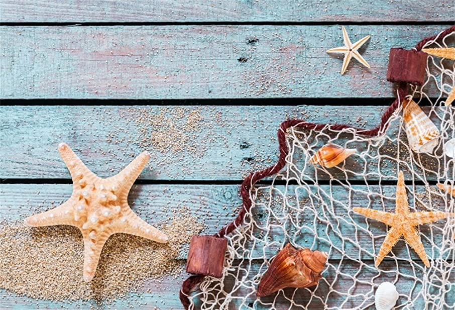 LFEEY 10x8ft Starfish Nautical Backdrops for Party Blue Wooden Splint Board Fishing Net Seashells Photography Background Kids Newborn Baby Portrait Photoshoot Birthday Party Back Drop