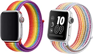 Tinsow 2 pcs Soft Rainbow Nylon Adjustable Woven Loop Replacement Strap Wristband with Hook and Loop Fastener Adjustable Closure for iWatch Series 4/3/2/1 (Rainbow, 42MM/44MM)