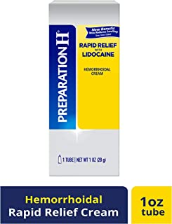 PREPARATION H Rapid Relief with Lidocaine Hemorrhoid Symptom Treatment Cream, Numbing Relief for Pain, Burning & Itching, Reduces Swelling, Tube (1.0 oz)