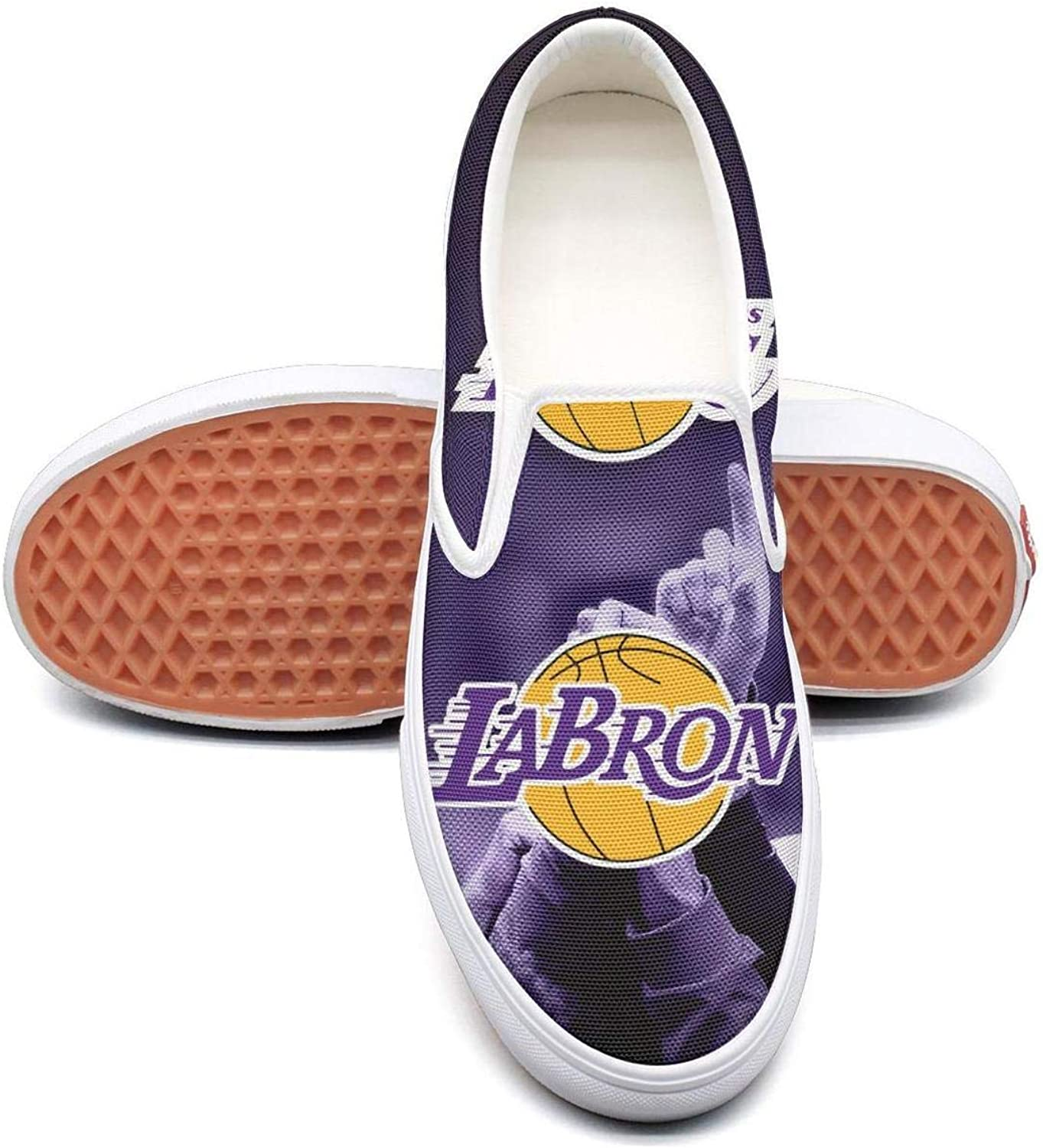 A-Jamee La_Bron_Yellow_Logo_Basketball Womens Funny Canvas Slip-ONS Travel shoes