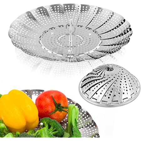 "Sayfine Vegetable Steamer Basket, Premium Stainless Steel Veggie Steamer Basket - Folding Expandable Steamers to Fits Various Size Pot (Medium (6.1"" to 10.5""))"