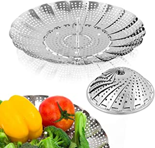 Sayfine Vegetable Steamer Basket, Premium Stainless Steel Veggie Steamer Basket - Folding Expandable Steamers to Fits Vari...