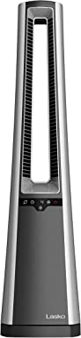 Lasko AC615 Portable Electric Oscillating Stand Up Bladeless Tower Fan with Remote Control for Indoor, Bedroom and Home Office Use, 36.1 inch, Gray/Silver