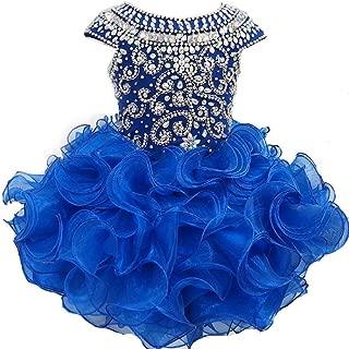 Toddler Girls' Ruffles Beaded Short Cupcake Pageant Dresses