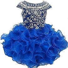 Weiai Toddler Girls' Ruffles Beaded Short Cupcake Pageant Dresses