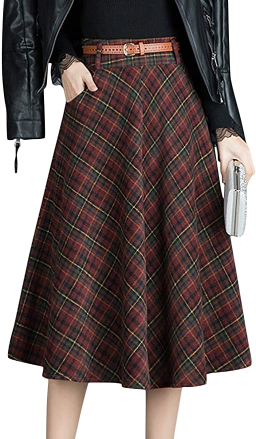 1940s Style Skirts- Vintage High Waisted Skirts Tanming Womens Winter Warm High Waist Plaid A-Line Pleated Midi Skirt with Belt  AT vintagedancer.com