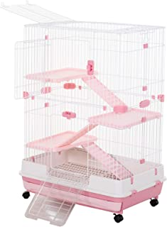 "PawHut 32""L 4-Level Indoor Small Animal Rabbit Cage with Wheels"