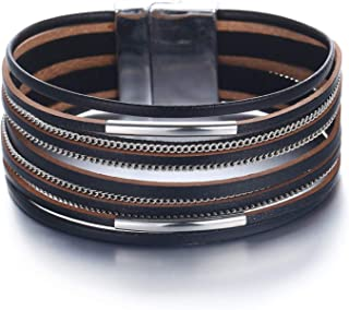 Black Multi-layer Leather Bracelet Magnetic Clasp Handmade Braided Chain Wrap Cuff Bangle Bracelet Jewelry for Women,Girl ...