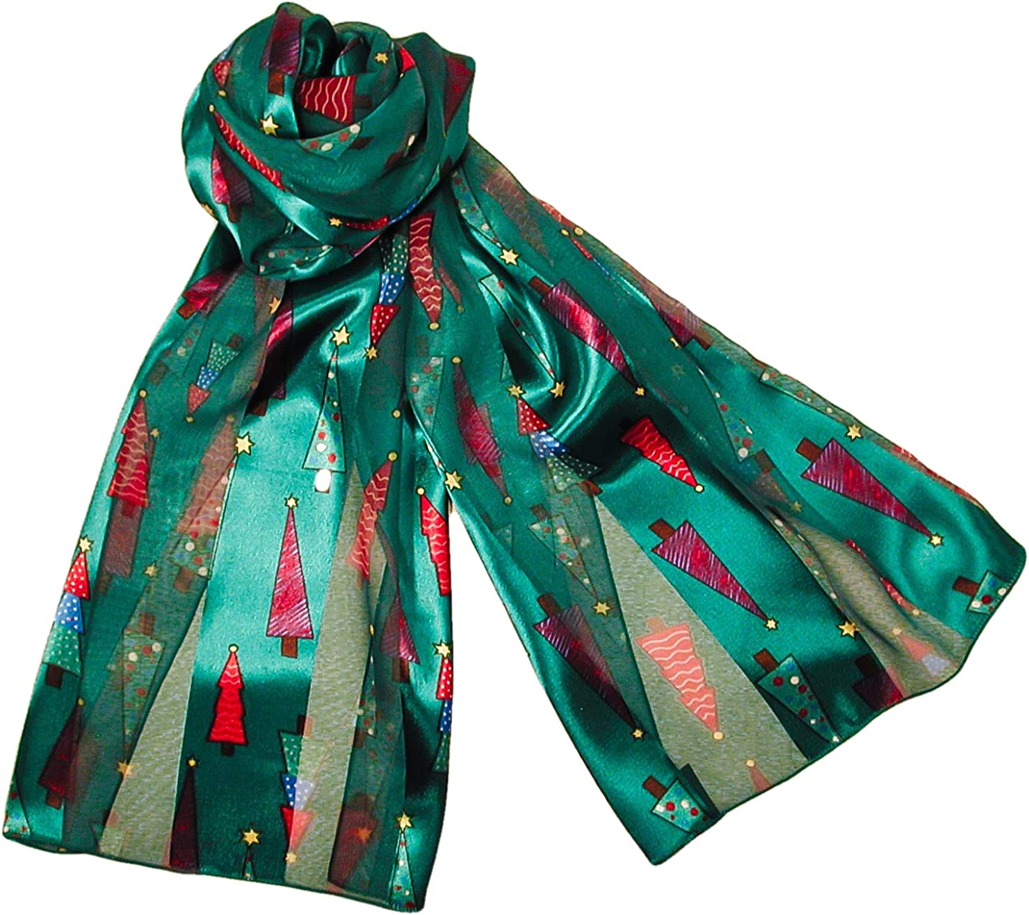 Colorful Christmas Tree Holiday Scarves with Gift Box Option