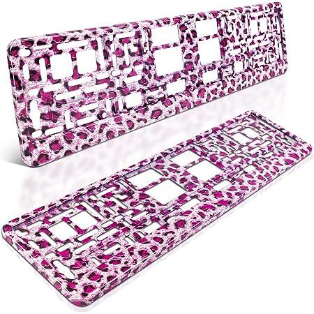 Schildevo 2 Kennzeichenhalter Pink Leopard Hydrografik Rosa Leo Panther Nummernschildhalter Kennzeichenverstärker Auto Pkw Kfz Dhl Versand Auto