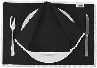 Vargottam Black Solid Home Décor Washable Lace Placemats & Napkins Table Decor Dining Mats-Pack of 8