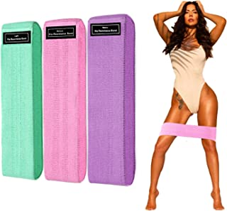 DANOFY Fabric Resistance Bands for Legs and Butt, Exercise BandsNon Slip Hip Workout Bands 3 Pack Thick Fabric Loop Exerc...