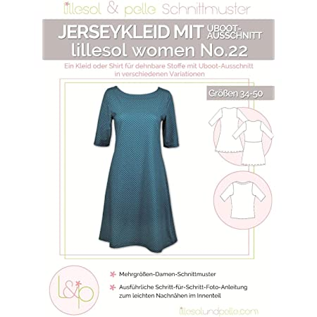 Amazon De Lillesol Pelle Schnittmuster Women No22 Kleid Mit Uboot Ausschnitt Papierschnittmuster