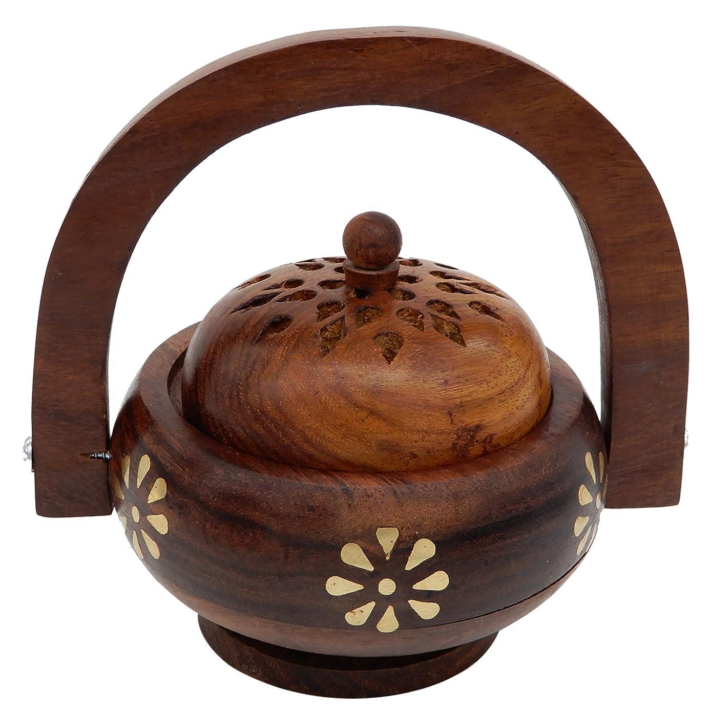 なにサワー政府Womens Day Special Gift,Wooden Incense Burner, Charcoal Burner with Handle With Brass Inlay