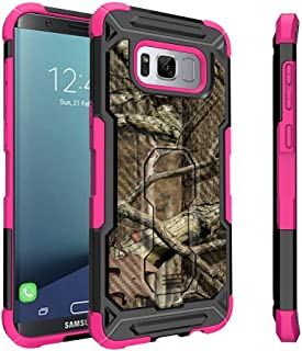 Samsung Galaxy S8 Case, S8 Holster Case [Tactical Armor] Pink Case Heavy Duty Protector with Swivel Holster [Shockproof] - Pink Tree Camo Hunting