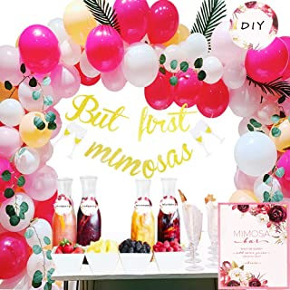 Bachelorette Party Decorations, Wedding Champagne Bar Decoration But First Mimosa Banner,Floral Mimosa Bar Sign,Juice Label Tags with Strings,Paper Confetti, Latex Balloons for Bridal Brunch,Graduation,Baby Shower,Peach Party,Blush Décor