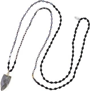 KELITCH Triangle Crystal Pendant Necklace Vintage Long Strand Chic Teardrop Friendship Necklaces