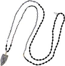 KELITCH Jewelry Natural Labradorite Pendant Long Necklace Handmade Sunstone-Feldspar Crystal Beads Chain Sweater Necklace Fashion
