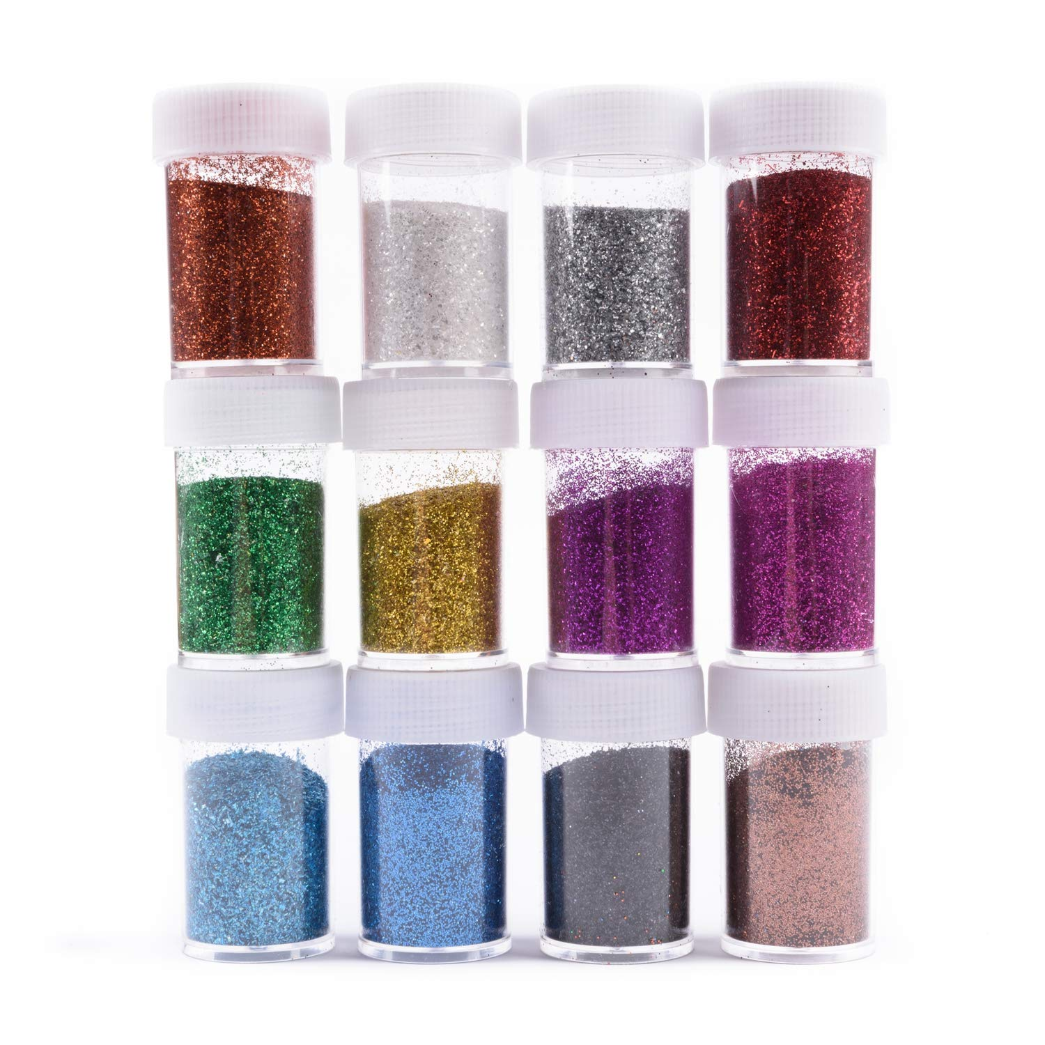 Allwon Glitter Powder Sequins Loose Eyeshadow Glitter Powder Shakers for Slime Scrapbooking Face Body Nail Art Holiday Crafts (12 Boxes)