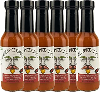 Gourmet Hot Sauce, 6 x Cayenne Habanero -ALL SPICE CAFÉ - Hot and Spicy, Delicious blend of Cayenne Peppers, Garlic, & Hab...