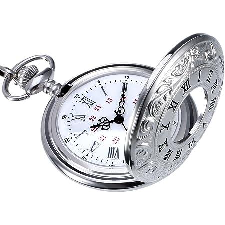 Classic Roman Numerals Silver Quartz Pocket Watch with Chain