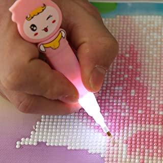 Swiftswan 5D Diamond Painting Point Pen Rhinestone Embroidery Tools Drill Pen With Light