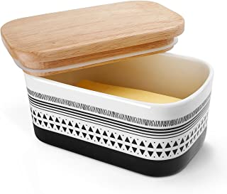 Sweese 303.211 Butter Dish - Porcelain Keeper with Airtight Beech Wooden Lid, Holds Up to 2 Sticks of Butter, Stylish
