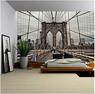 wall26 - Brooklyn Bridge and Cable Pattern - Removable Wall Mural | Self-adhesive Large Wallpaper - 100x144 inches