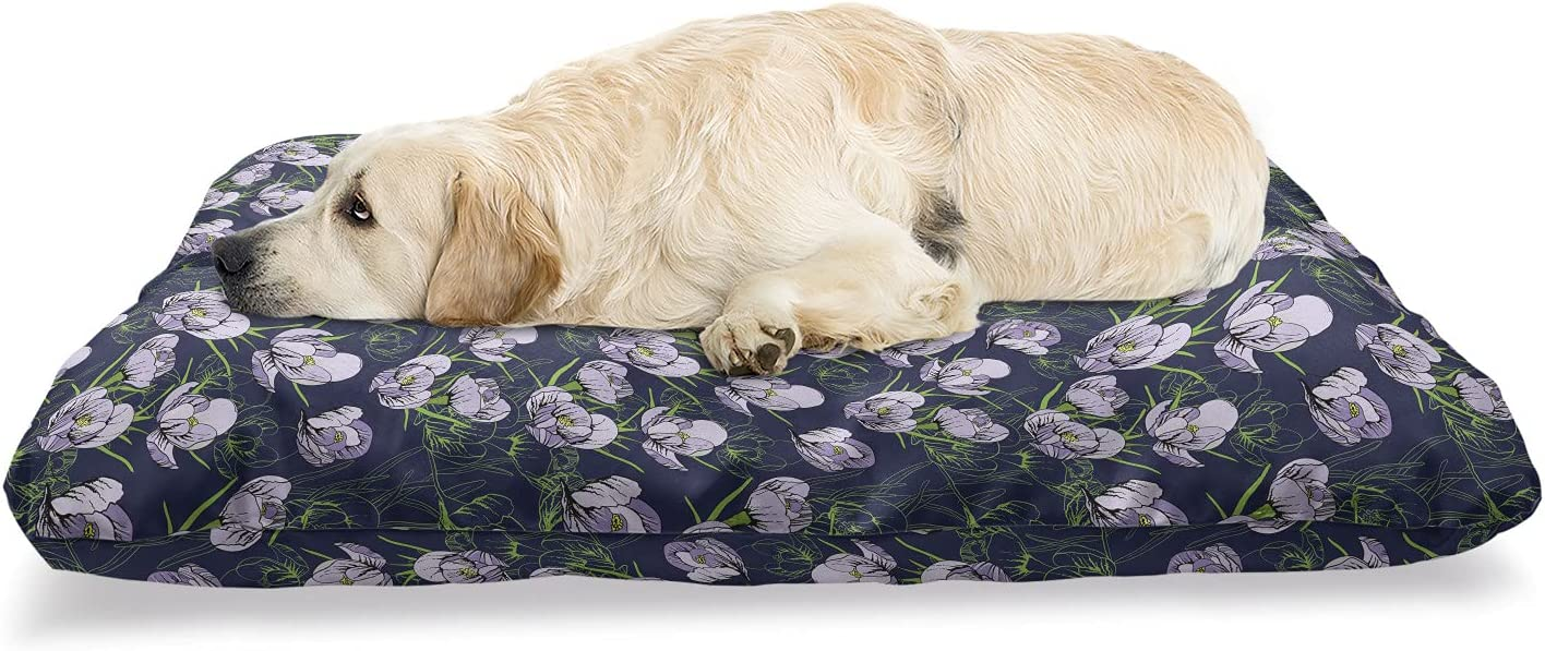 Ambesonne New mail order Floral Pet Bed Snowdrops Lowest price challenge Garden Mea Flowers Galanthus