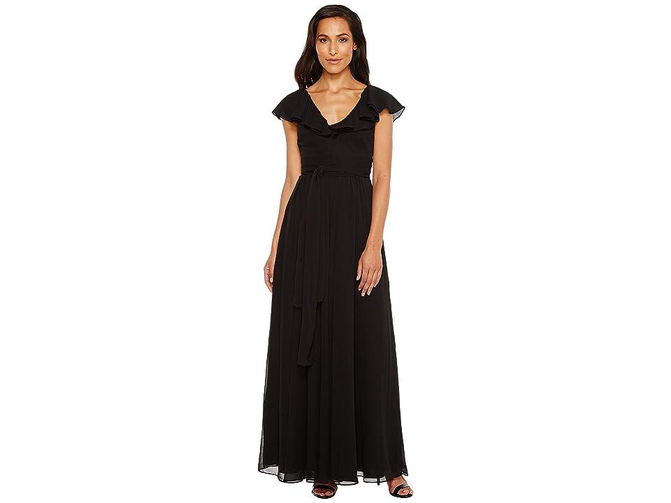 JILL JILL STUART Crisscross Back Chiffon Tie Gown (Black) Women