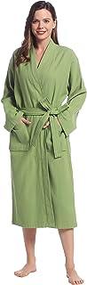 Joyaria Waffle Robe Long Cotton Bathrobe Spa robe with Pockets