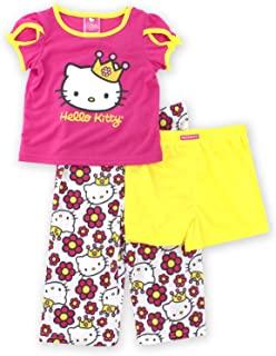 40e1ad154 Princess Hello Kitty Girls 3 Piece Pajamas Set (Toddler/Little Kid/Big Kid