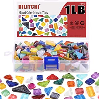 Hilitchi 1lb Assorted Stained Glass Mosaic Tiles Mixed Shapes and Colors Glass Pieces for DIY Crafts, Plates, Picture Frames, Flowerpots, Handmade Jewelry and More (Option-D)