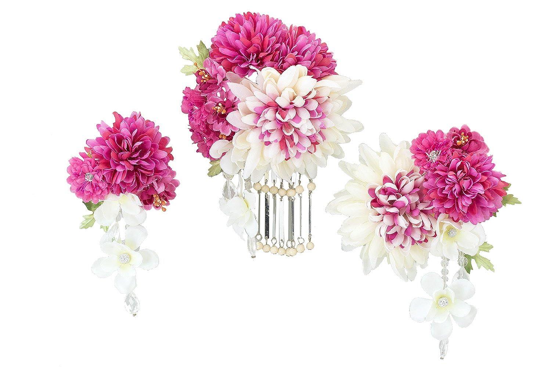 (ソウビエン) 髪飾り 5点セット 八重桜 ブラ飾り ビラ簪 成人式 振袖向き 卒業式