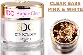 DND DC Pink & White CLEAR BASE Natural DIP POWDER for Nails, Daisy Dipping (with bonus side Glitter) Made in USA (SUPER CLEAR)