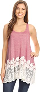 Women's Lace Trimmed Tank Tops Casual Loose Fit Sleeveless Camisoles Dress