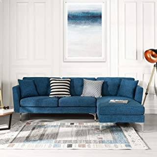 Blue Upholstered Linen Sectional Sofa Couch | Modern L-Shape Sectional, Sectional Sofas and Couches, Sofa Couch with Chaise, for Small/Large Living spaces, Family Living Room Home Furniture Sectionals