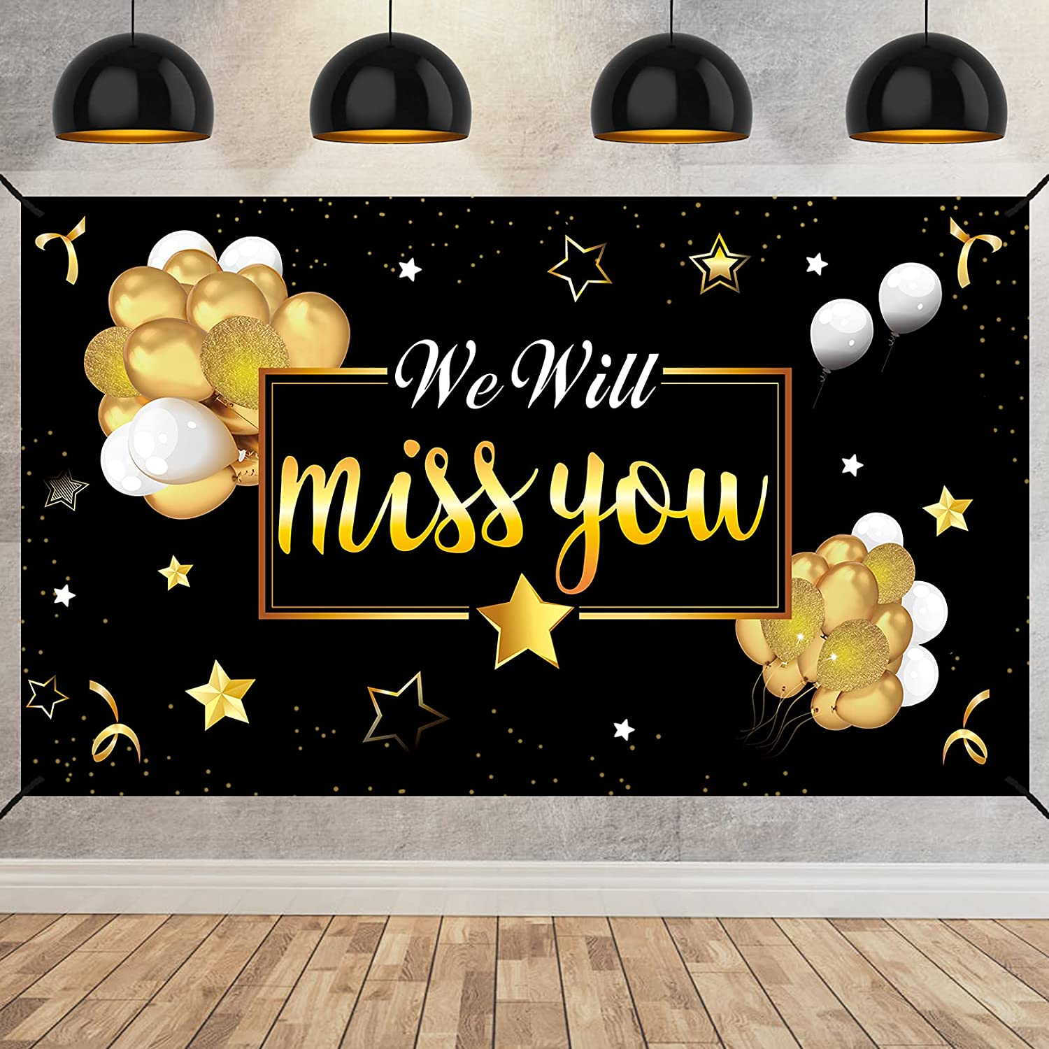 We Will Miss You Going Away Party Banner Backdrop Decorations, Extra Large Black Gold Retirement Party Supplies, Farewell Goodbye Party Background Sign Decor for Coworker Men Women