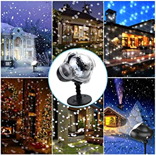 LED Projector Light Snow Falling Light Waterproof Outdoor Indoor Snowflake Decorations Light with Remote Control for Christmas Halloween Festival Wedding Birthday Patio Garden Party