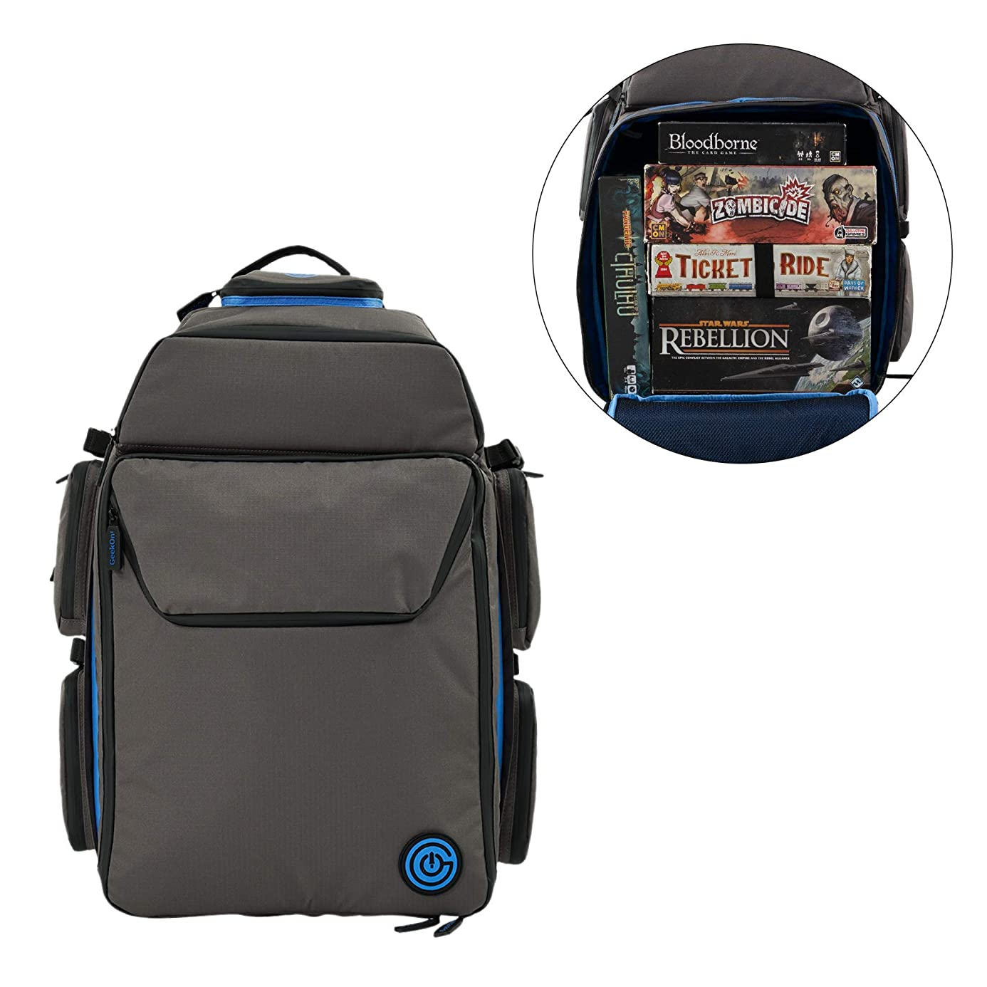 Ultimate Boardgame Backpack - The Smartest Way to Carry Your Games - Expandable Multi-Functional Backpack - Carry-on Compliant (Gray/Blue)