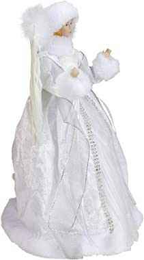 """Roman 14"""" White Angel in a Sparkly Dress Christmas Tree Topper- Unlit"""