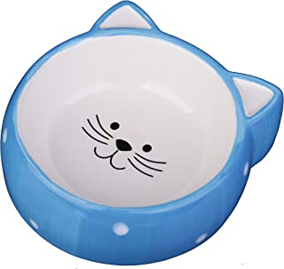 MushroomCat Cat Face Dishes for Food and Water, Puppy Rabbit Small Ceramic Bowl