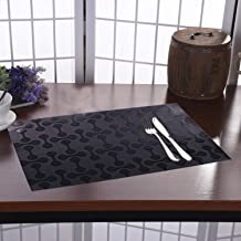 Kuber Industries Coin Design 6 Pieces PVC Dining Table Place Mats, Black - CTKTC021870