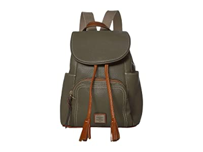Dooney & Bourke Pebble Medium Murphy Backpack (Olive/Tan Trim) Backpack Bags