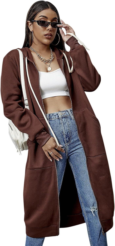 SheIn Women's Solid Zip Up Tunic Long Hoodies Sweatshirt Jacket With Pocket
