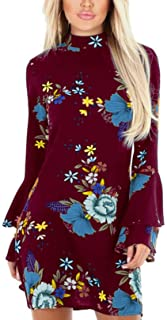 YOINS Summer Casual Dresses for Women Floral Print Perkins Collar Flared Sleeves Fashion Mini Dress