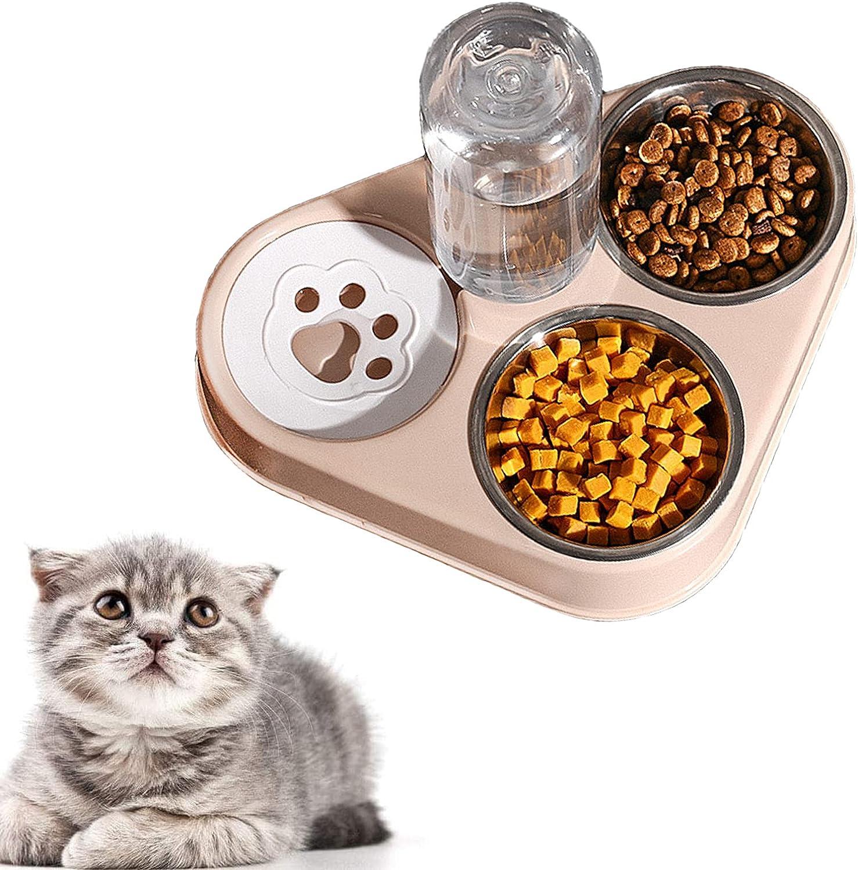 auvstar 3 en 1 Elevado Comedero Gato,Cuenco del Gato Doble Tazón, Comedero Automático para Mascotas con Dispensador de Agua ,Inoxidable Cuencos para Comida para Gatos y Perros Pequeños (Rosa)