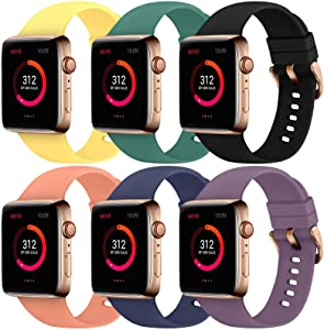 Abincee 6PCS Bands Compatible with Apple Watch 38mm 40mm 42mm 44mm with Rose Gold Buckle,replacement band for iWatch Series 6/5/4/3/2/1 (Black/Midnight Blue/Purple/Yellow/Pine Green/Orange, 42mm/44mm)