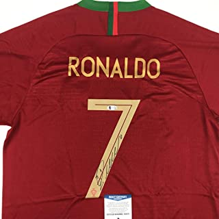 Autographed/Signed Cristiano Ronaldo Portugal Red World Cup Soccer Futbol Jersey Beckett BAS COA